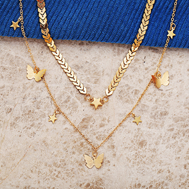 Layered Gold Metal Butterfly Design Necklace