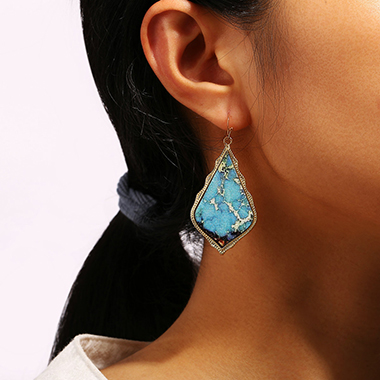 Turquoise Decorated Earring Set for Lady