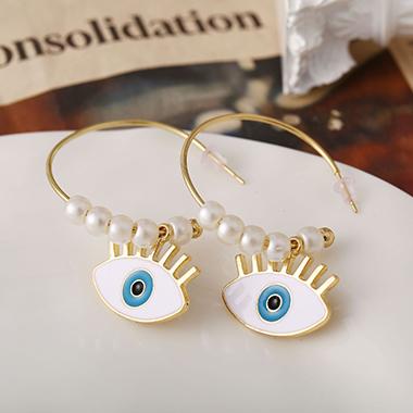 Gold Metal Pearl Decorated Hoop Earrings