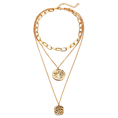 Curb Chain Gold Metal Layered Necklace