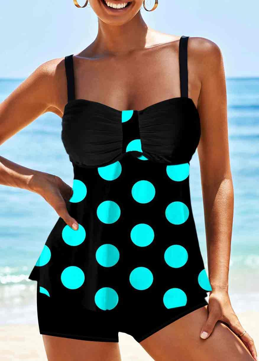 Polka Dot Spaghetti Strap Black Swimwear Top