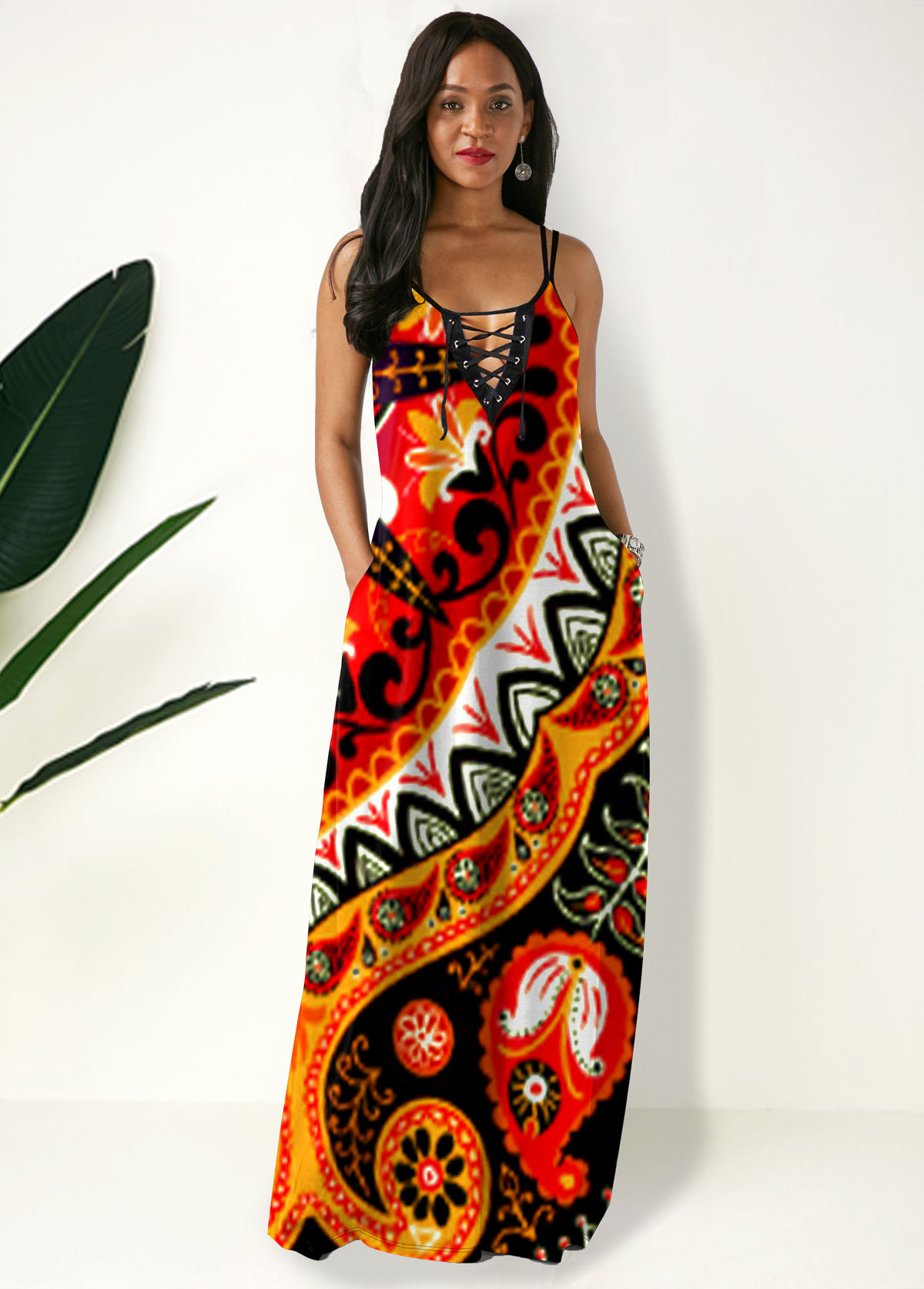 Side Pocket Tribal Print Spaghetti Strap Maxi Dress