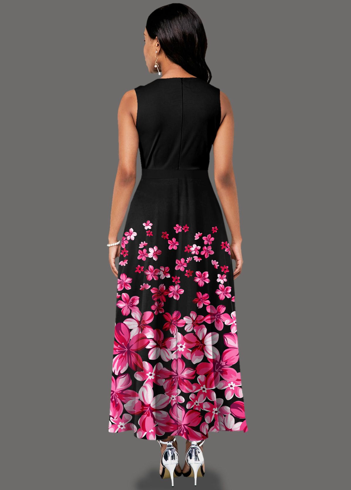 Side Pocket Sleeveless Floral Print Maxi Dress