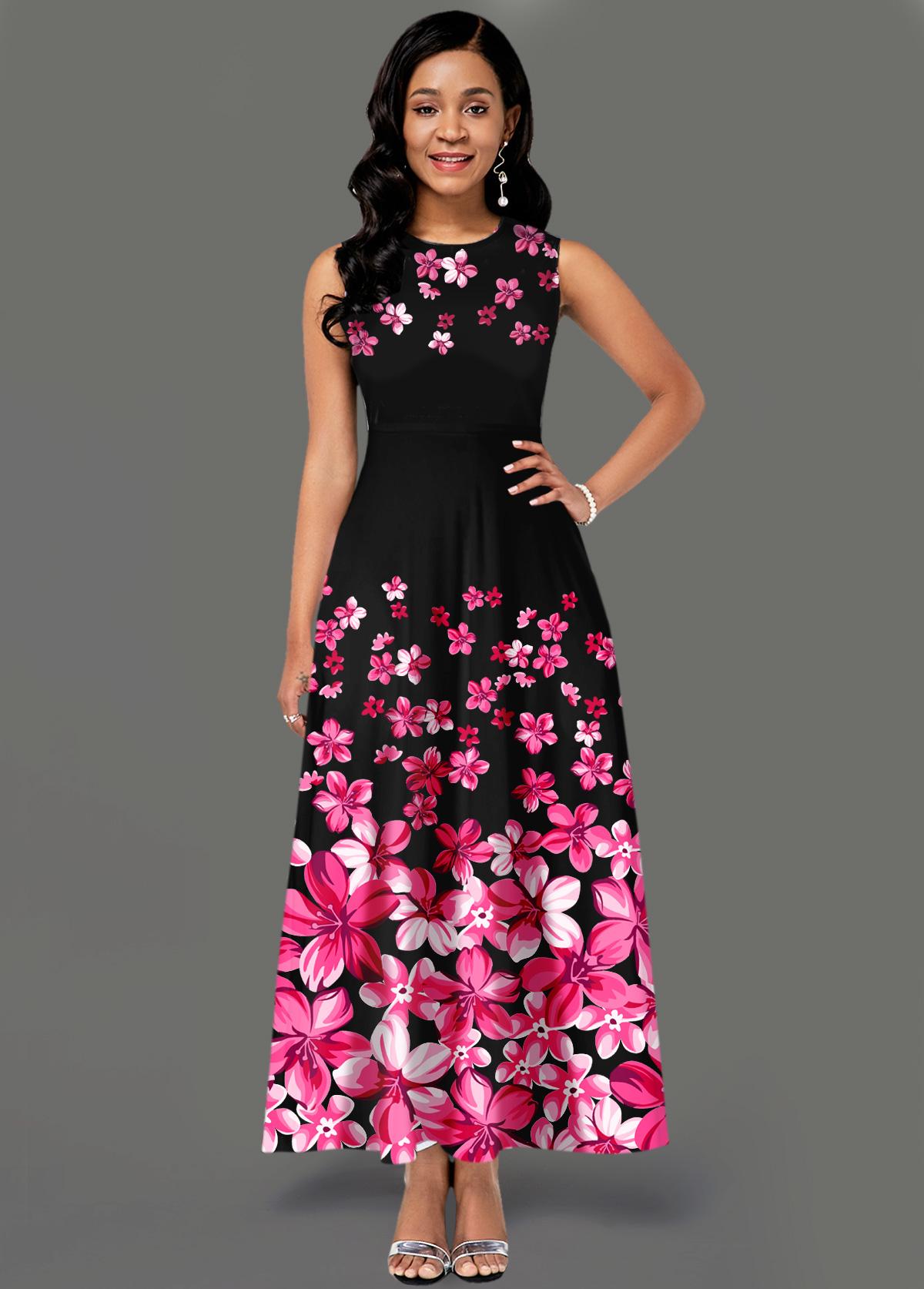 Side Pocket Sleeveless Floral Print Maxi Dress