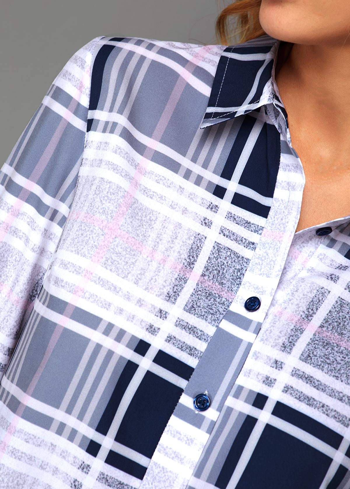 Turndown Collar Button Front Plaid Print Blouse