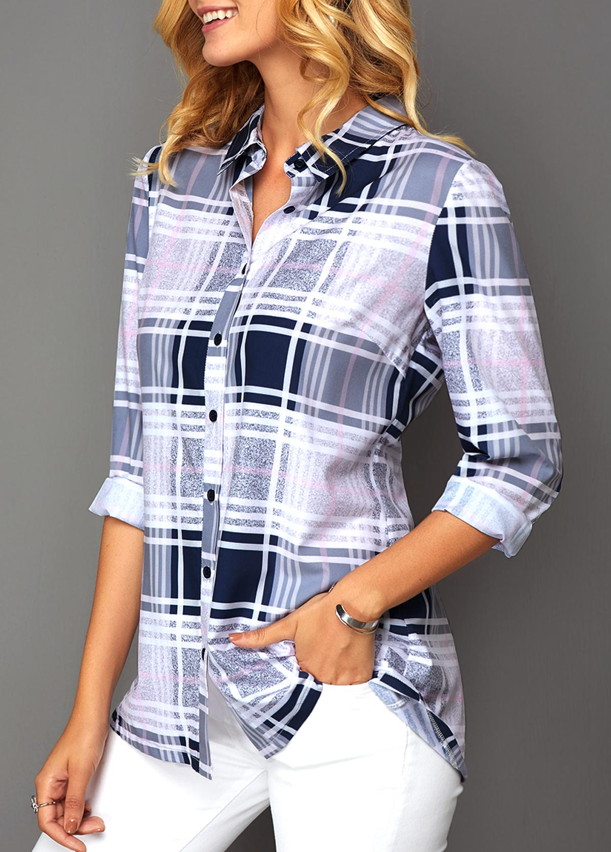 Turndown Collar Button Front Plaid Print Blouse