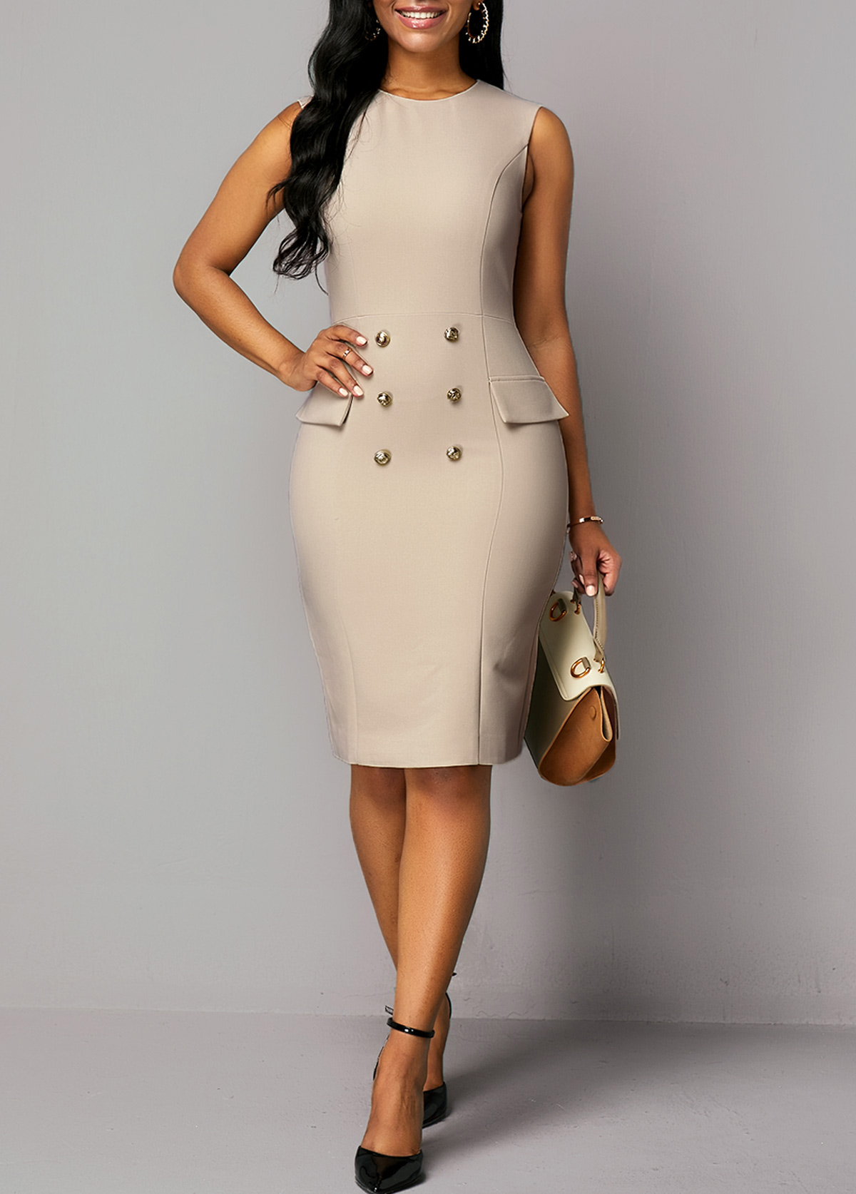 Cap Shoulder Top and Button Detail Back Slit Dress