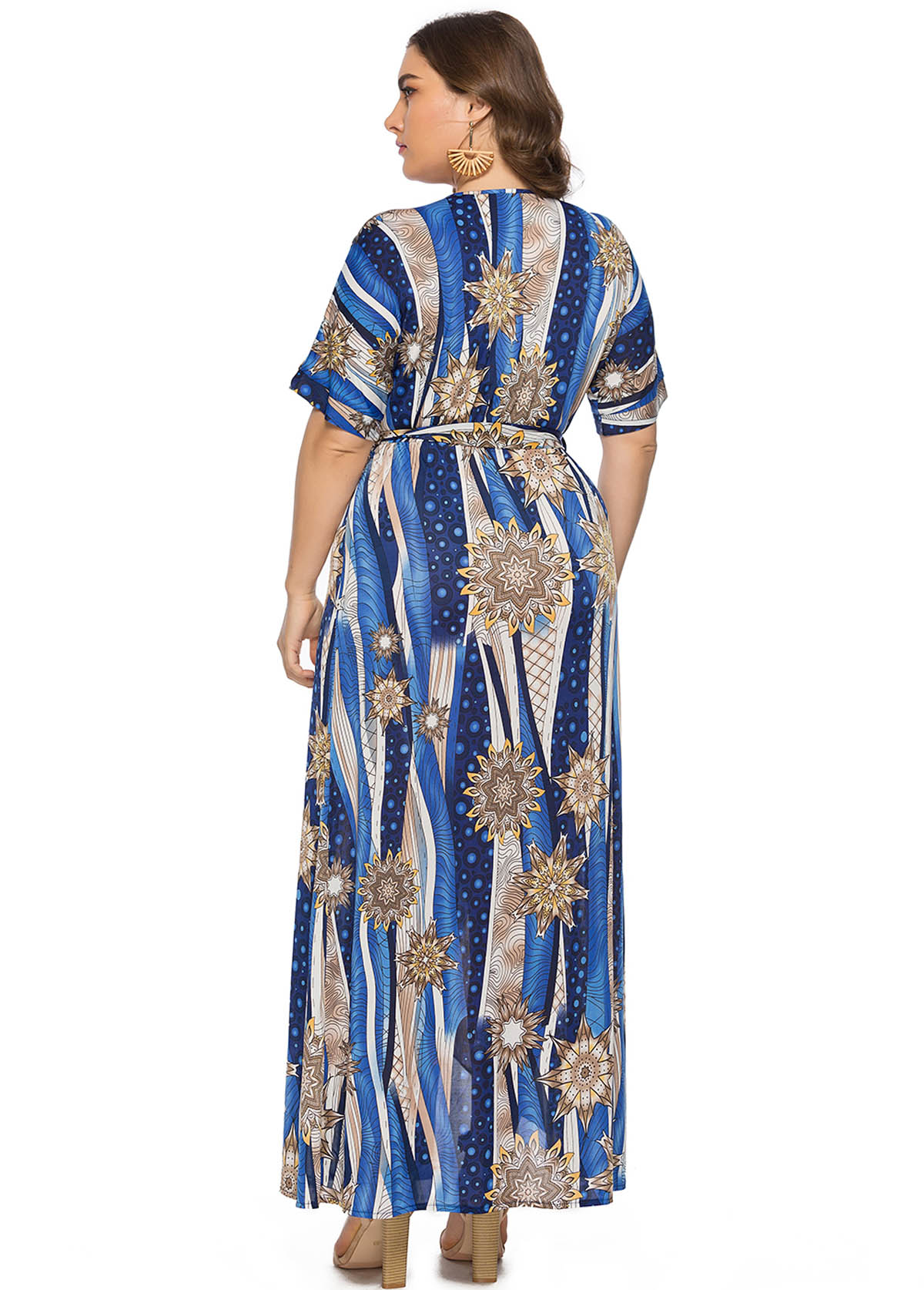 Printed Plunging Neck Plus Size Maxi Dress