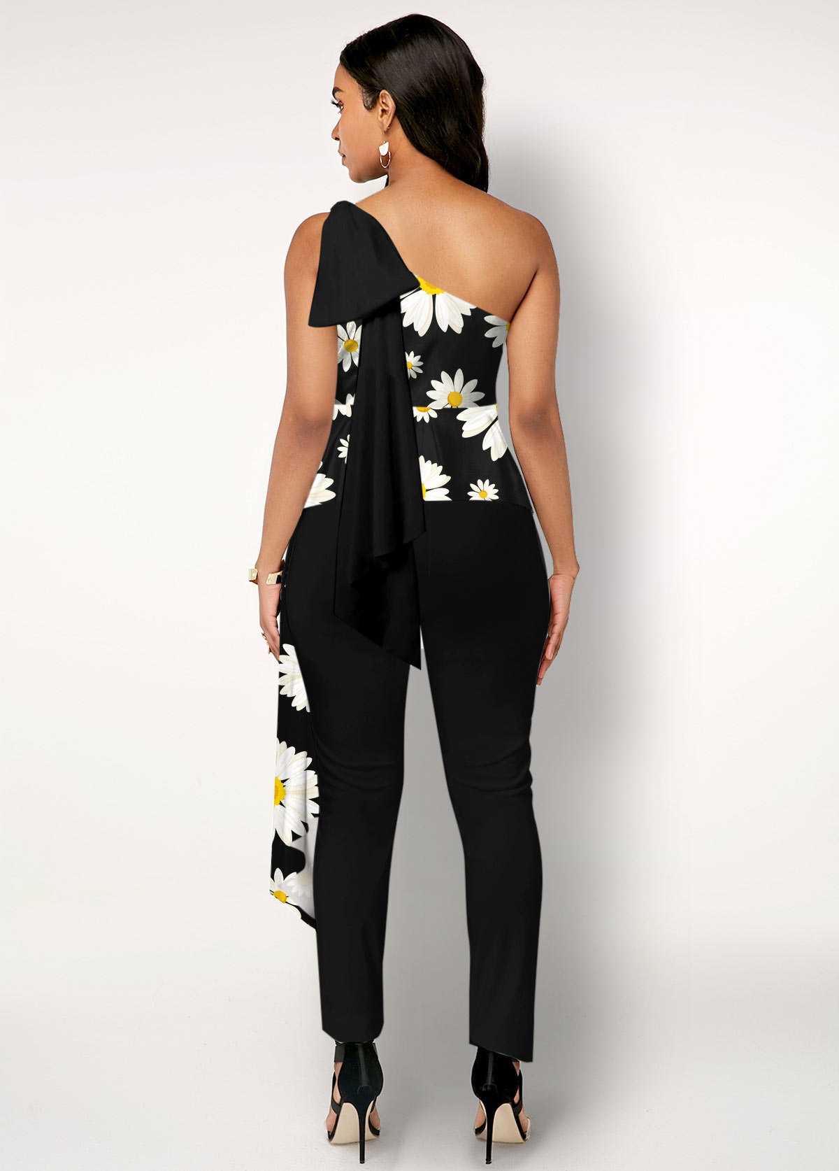 Daisy Print One Shoulder Black Overlay Jumpsuit
