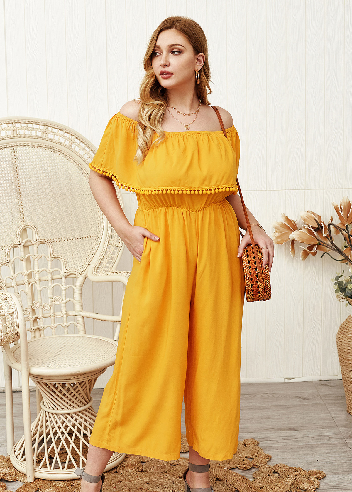 Plus Size Side Pocket Off the Shoulder  Jumpsuit