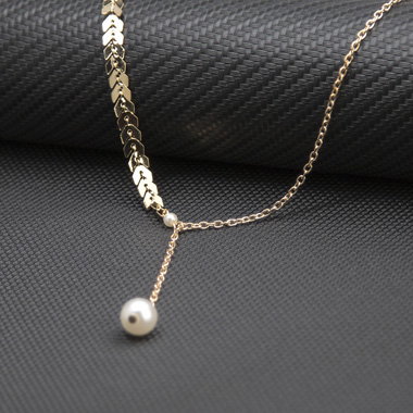 Pearl Embellished Gold Metal Chain Necklace for Women