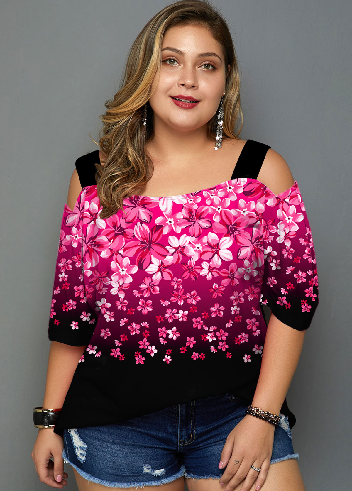 Plus Size Gradient Floral Print Cold Shoulder T Shirt