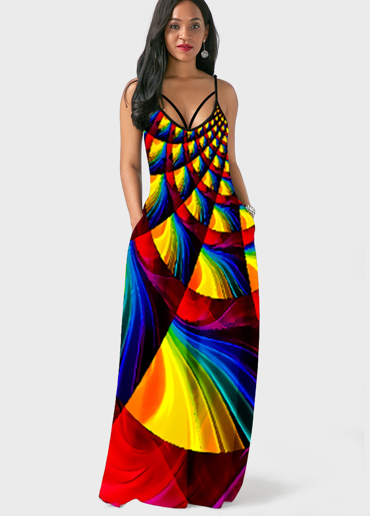 Rainbow Color Geometric Print Side Pocket Maxi Dress