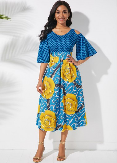 Printed Butterfly Sleeve Cold Shoulder Dress