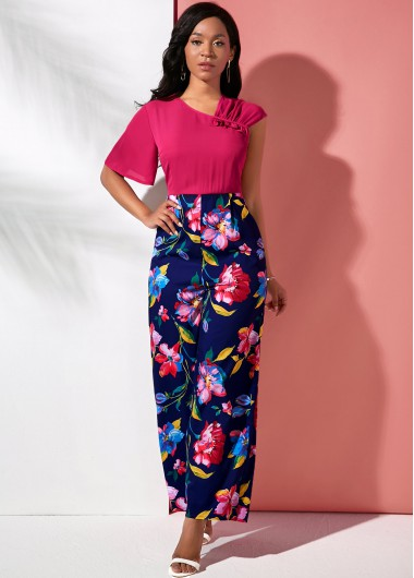 Layered Bell Sleeve V Neck Large Floral Print Jumpsuit