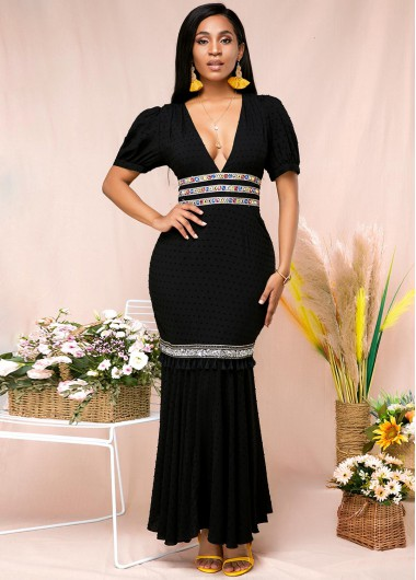 Elegant V Neck Maxi Half Sleeve Black Mermaid Dress