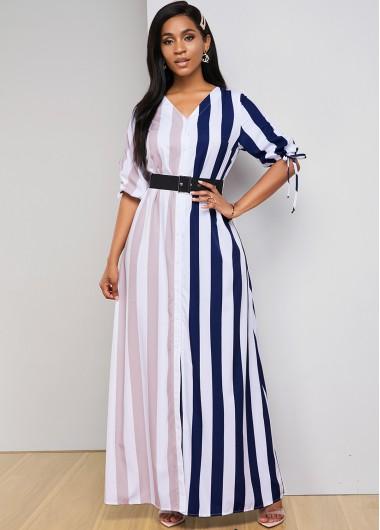 Contrast Striped Drawstring Sleeve V Neck Dress