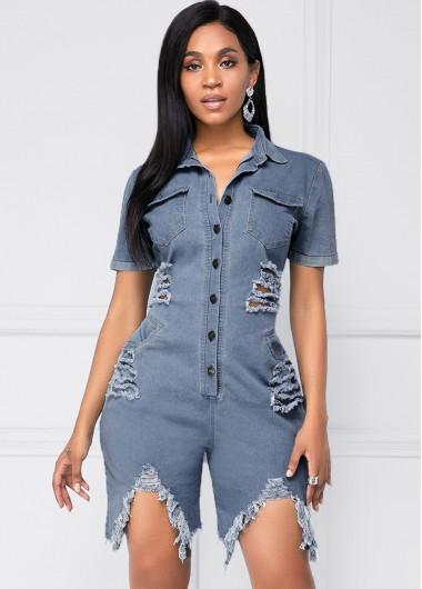 Rosewe Women Denim Blue Button Up Turndown Collar Chest Shredded Denim Romper With Pockets Solid Color Short Sleeve Mini Casual Wide Leg Jumper - XL