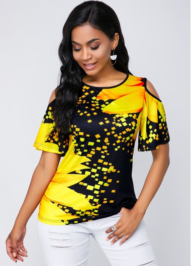 Cold Shoulder Round Neck Sunflower Print T Shirt