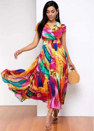 Rosewe coupon: Rosewe Women Multi Color Rainbow Gradient Print V Neck Short Sleeve Maxi Dress Belted A Line Bohemian Vacation Casual Dress - 14