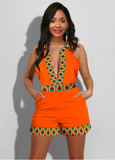 Sleeveless Tribal Print Plunging Neck Romper