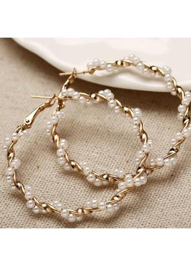 Gold Circle Shape Pearl Embellished Earring Set
