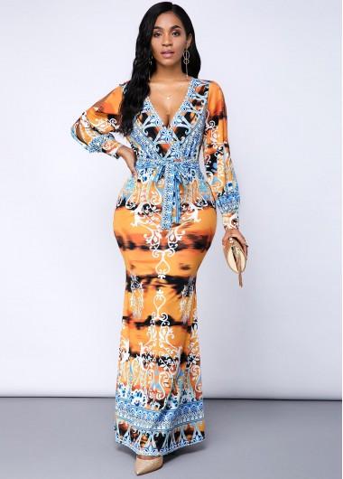 Tribal Print Long Sleeve Belted Dress