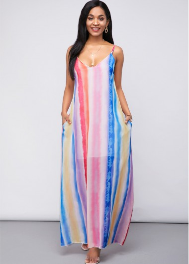 Pocket Rainbow Stripe Spaghetti Strap Chiffon Dress