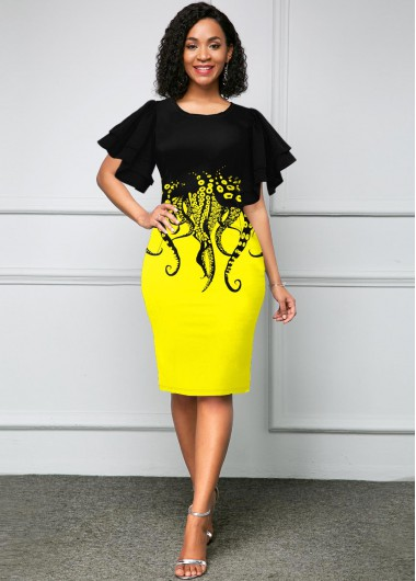 Short Sleeve Octopus Print Round Neck Dress