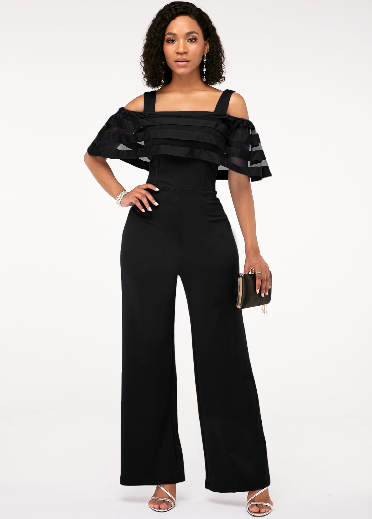 Strappy Cold Shoulder Black Ruffle Overlay Jumpsuit