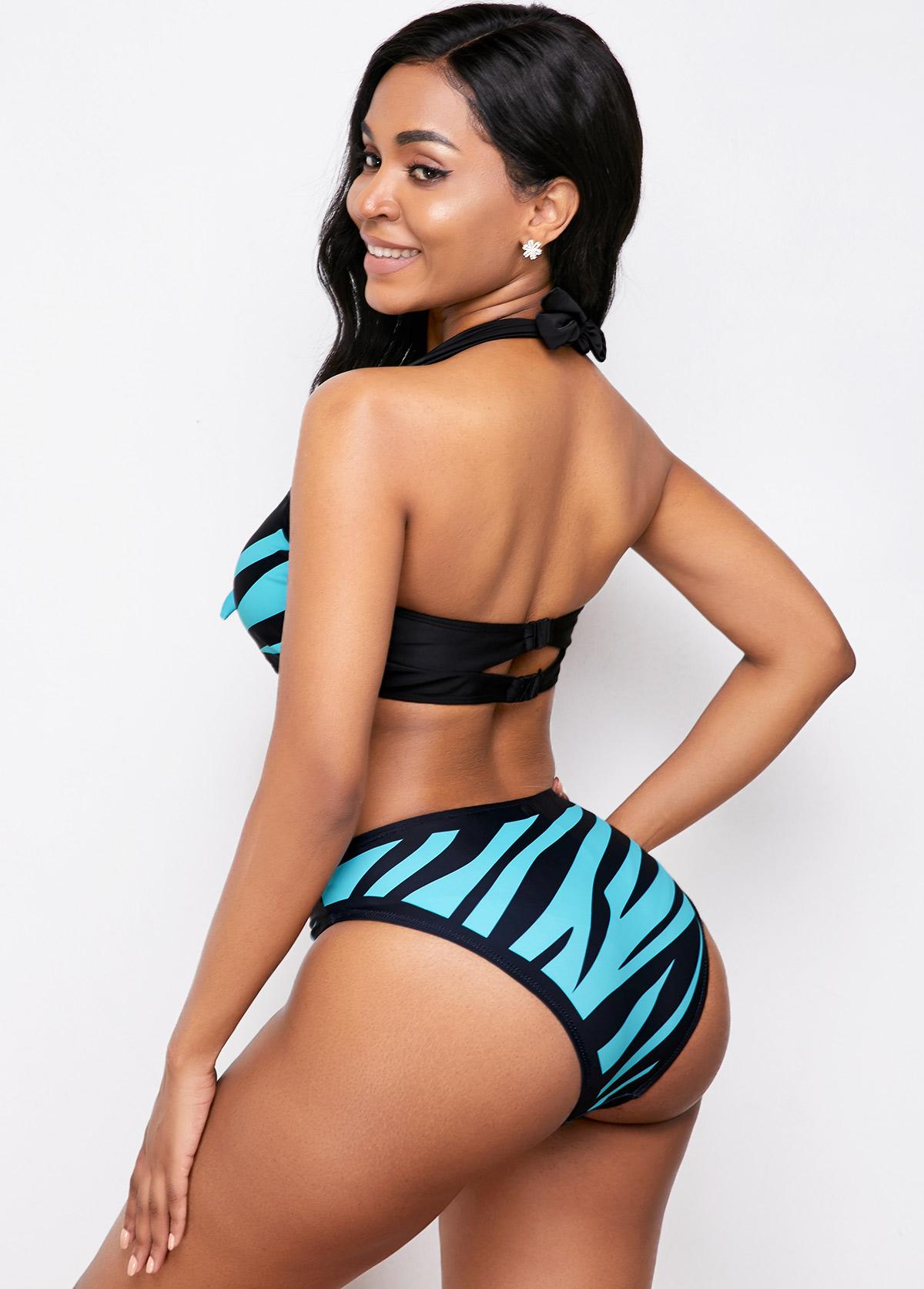 Halter Neck Bowknot Detail Bikini Set