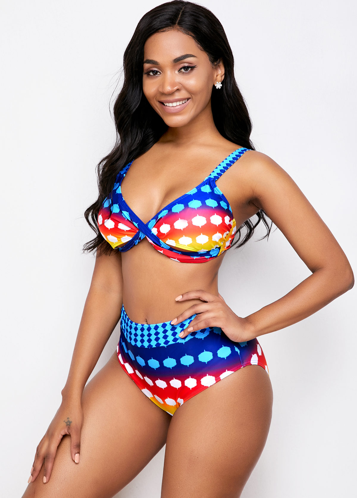 Printed Cross Front Mid Waist Multi Color Bikini Set