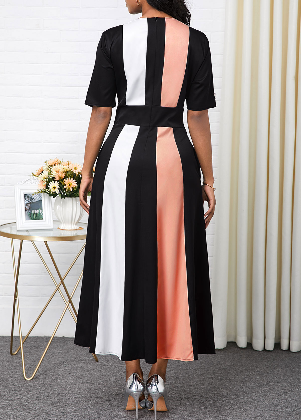 Color Block Button Detail High Waist Maxi Dress