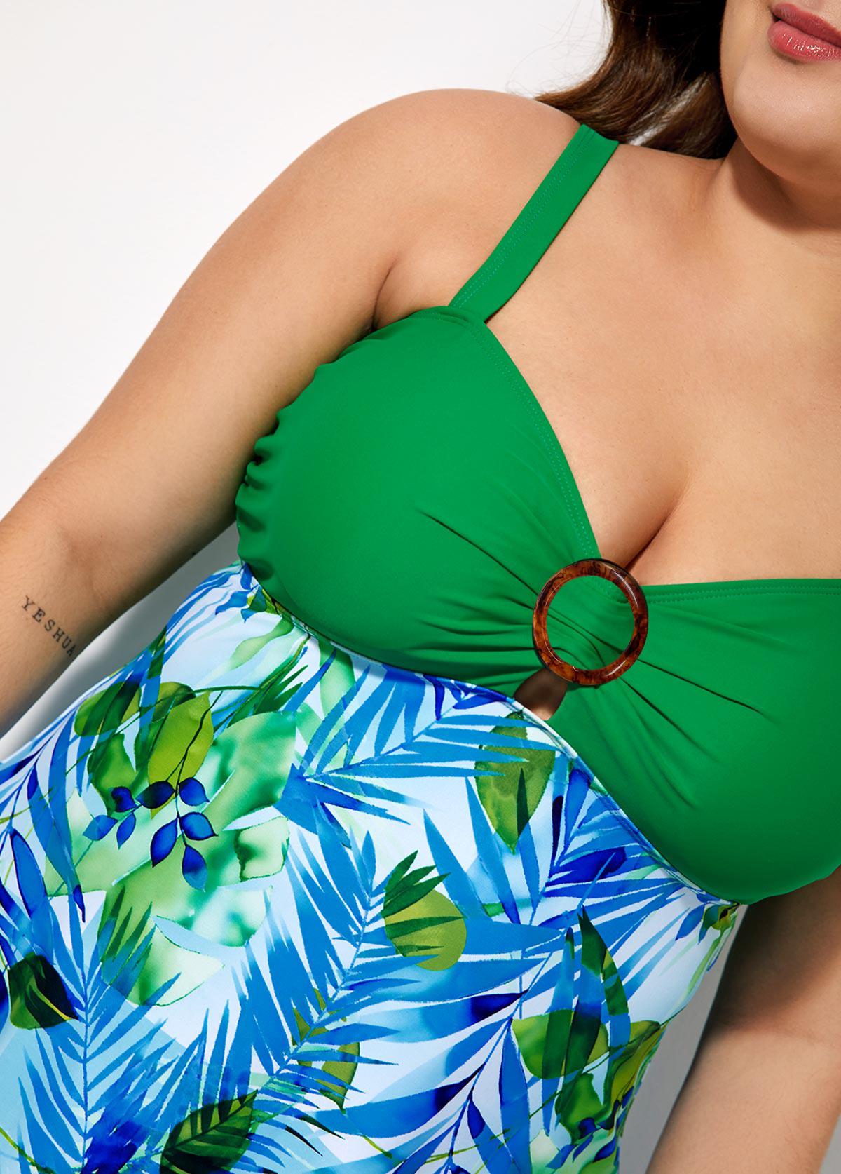 Plus Size Spaghetti Strap Printed Swimdress and Shorts