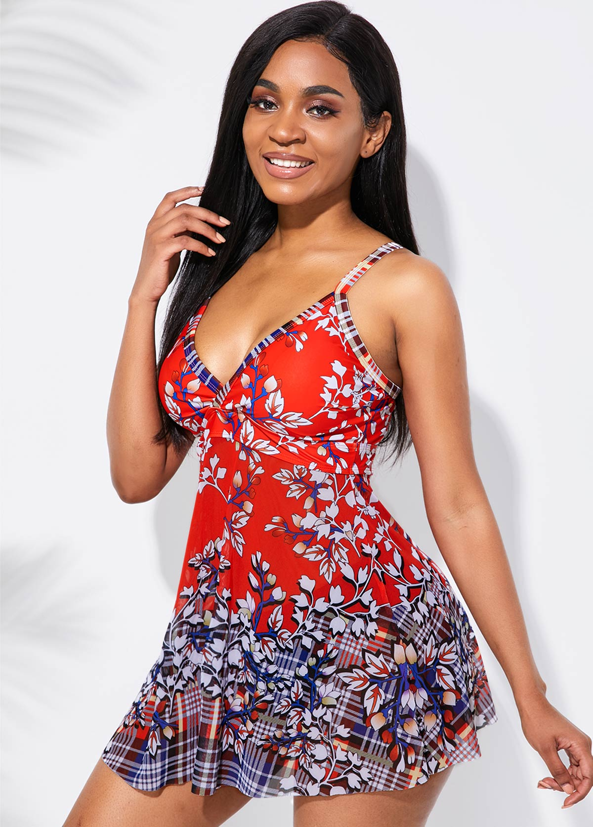 Red Floral Print Spaghetti Strap Swimdress and Panty