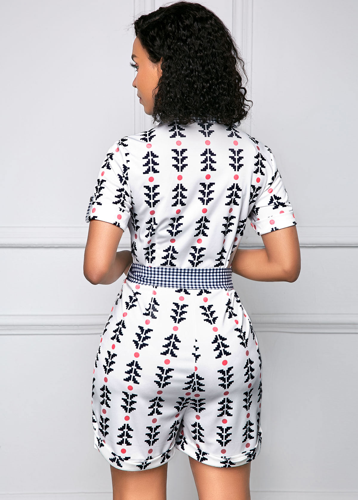 Short Sleeve Belted Button Up Tribal Print Romper
