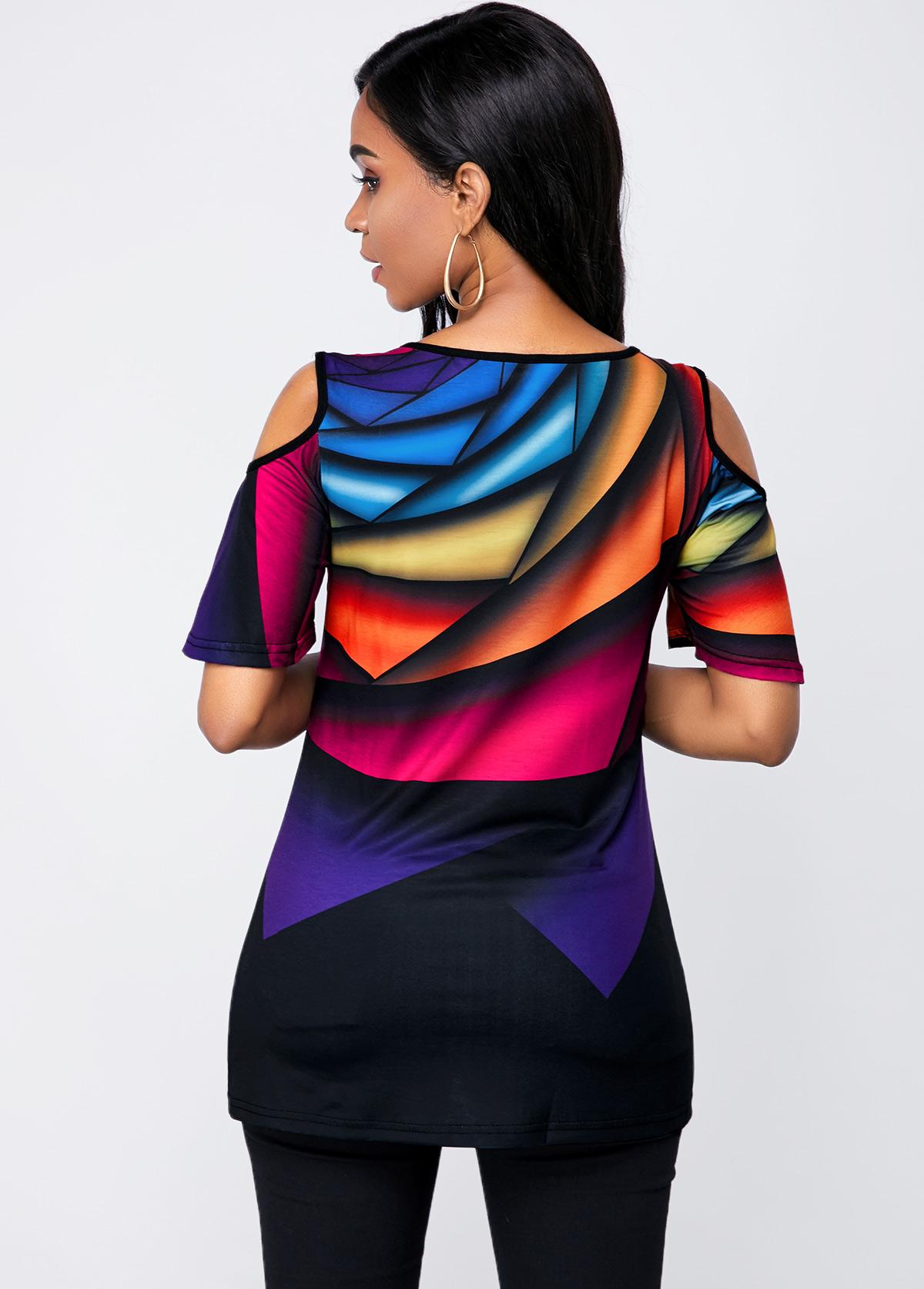 Half Sleeve Round Neck Rainbow Print T Shirt