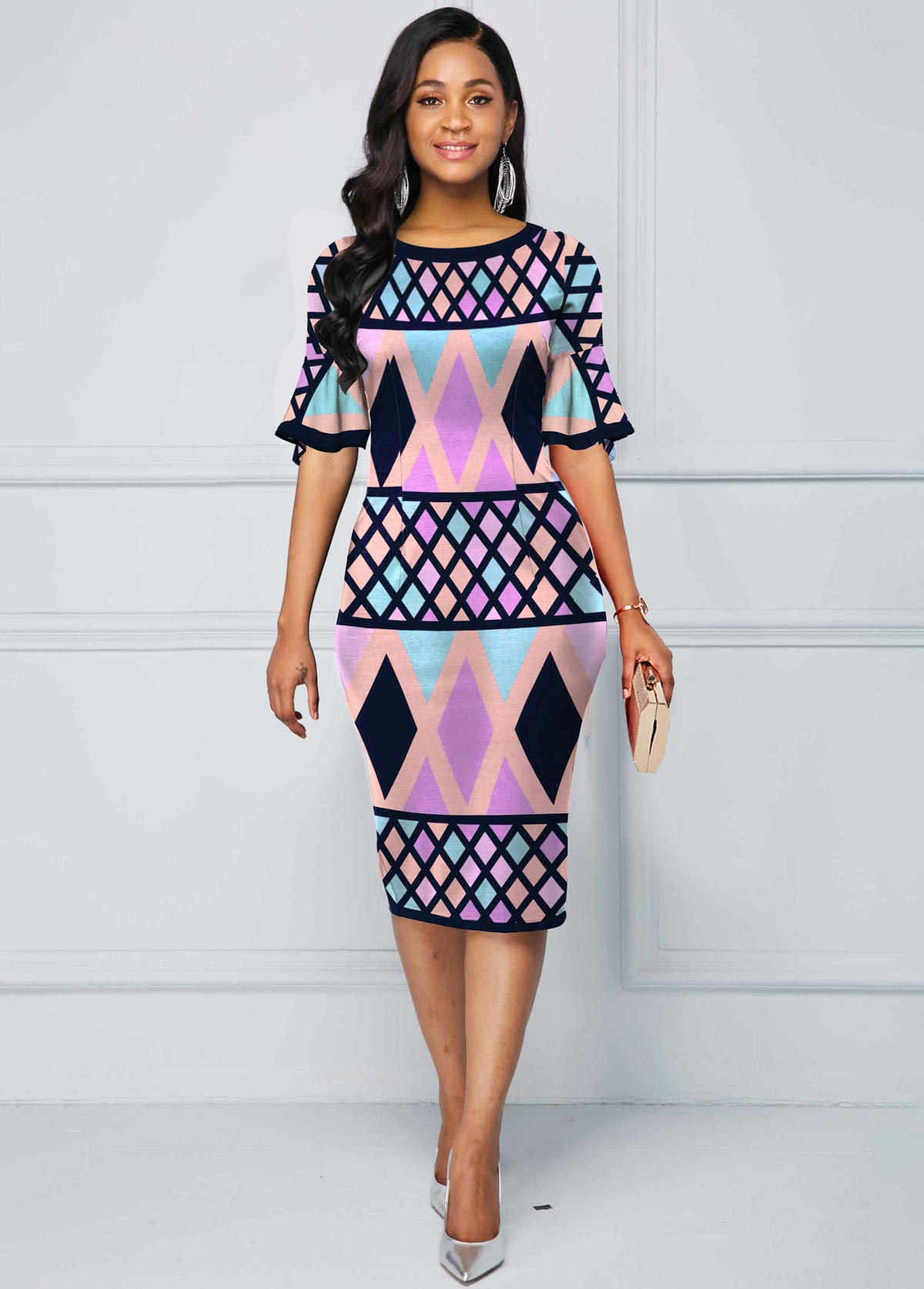 Flare Sleeve Multi Color Geometric Print Dress
