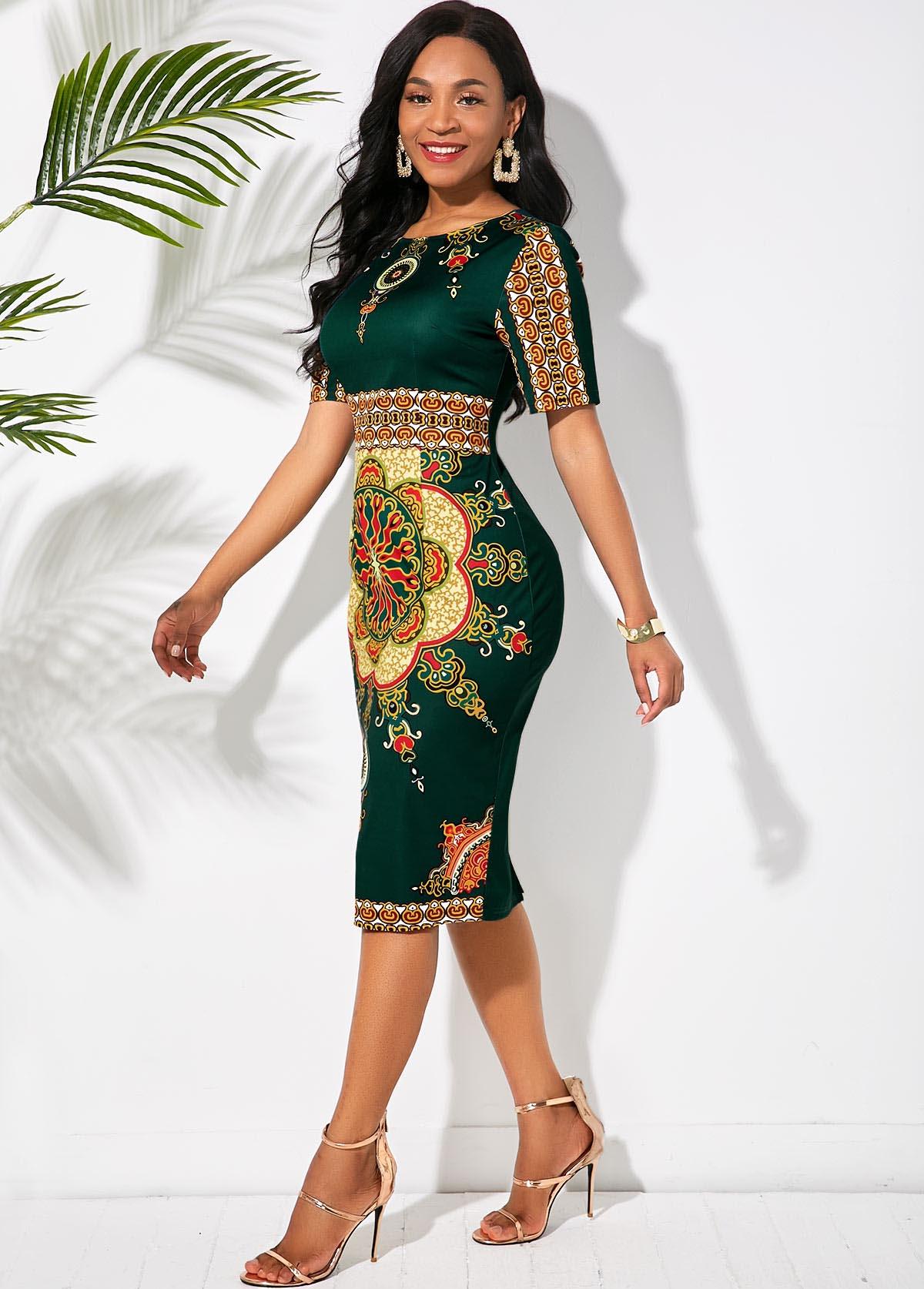 Round Neck Half Sleeve Tribal Print Dress