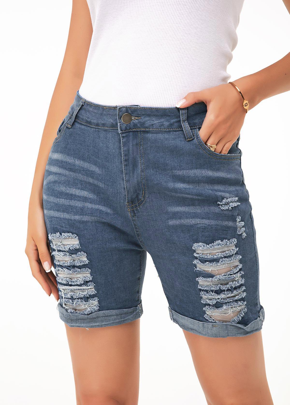 Button Up Shredded Denim Blue Shorts