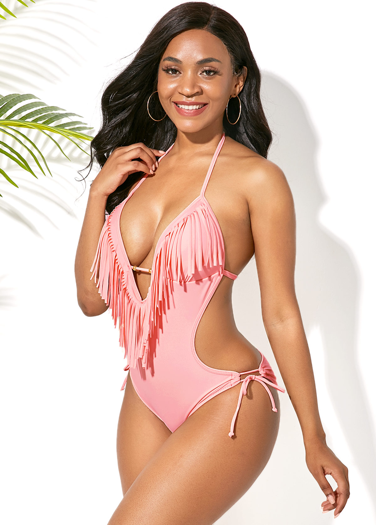 Light Pink Tassel Embellished Halter One Piece Swimwear