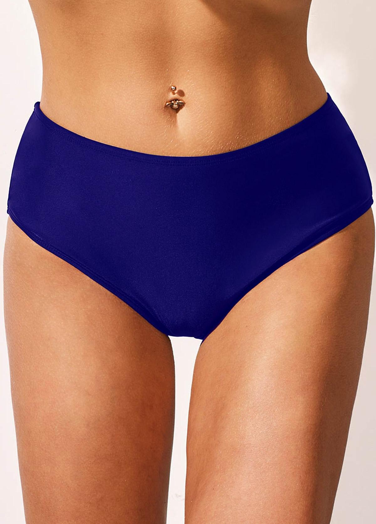 Lace Panel Royal Blue Spaghetti Strap Swimdress and Panty