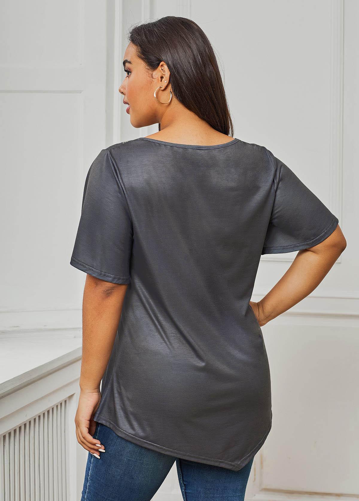 Plus Size Short Sleeve Floral Print T Shirt