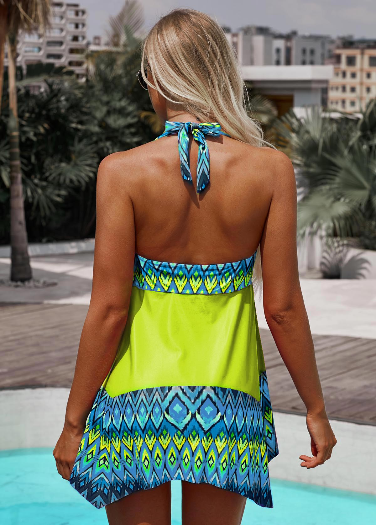 Halter Asymmetric Hem Printed Swimdress and Shorts