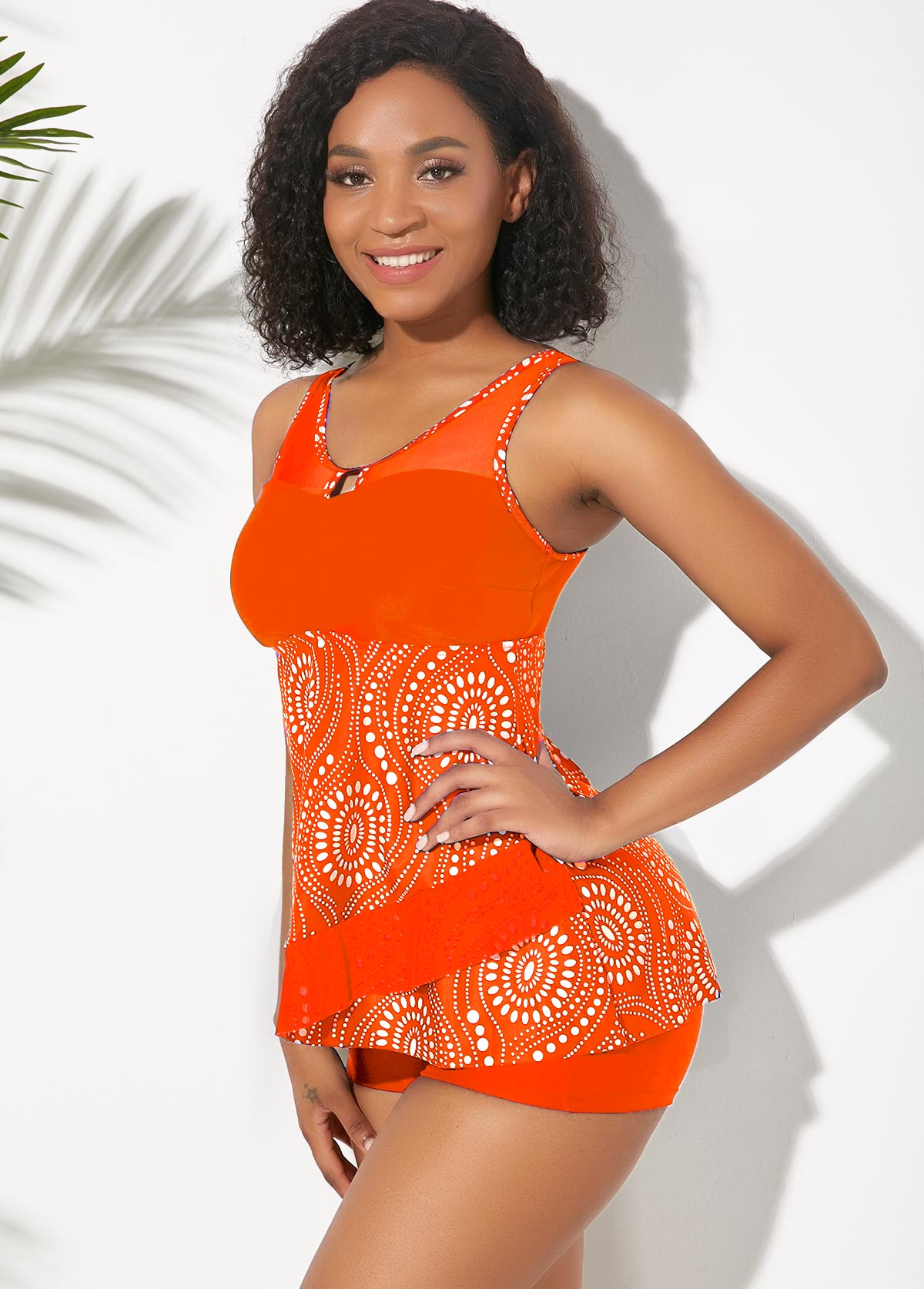 Orange Mesh Panel Printed Tankini Set