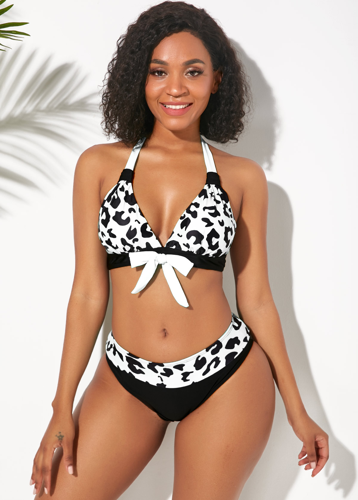 Leopard Print Bowknot Halter Bikini Set