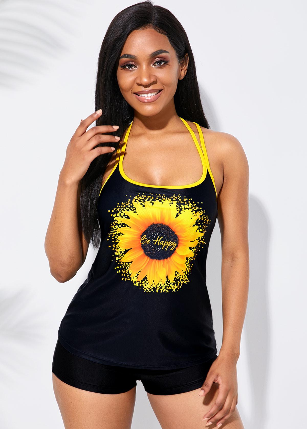 Black Strappy Back Sunflower Print Tankini Set