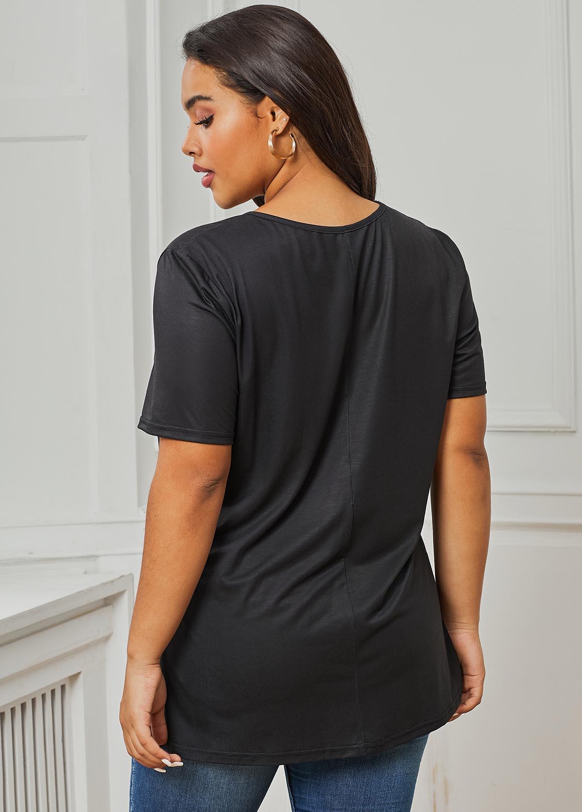 Black V Neck Flower Print Plus Size T Shirt
