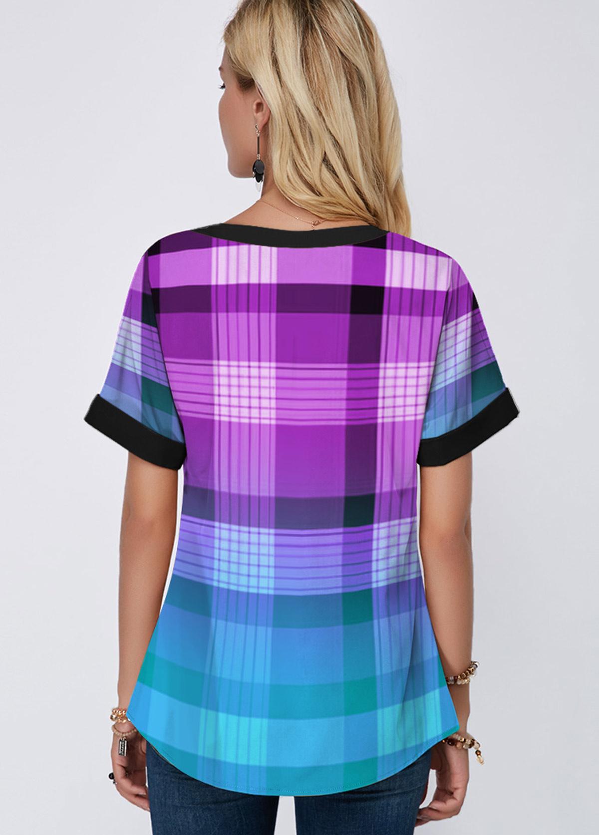 Lace Up Plaid Print Short Sleeve Blouse