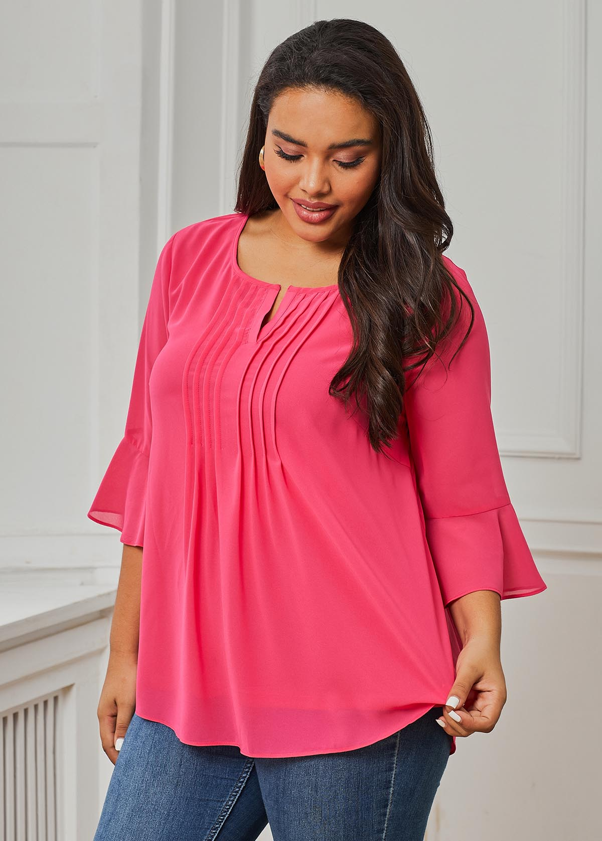 Three Quarter Sleeve Pink Crinkle Chest Plus Size Blouse